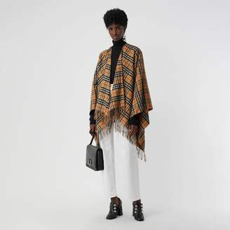 Burberry Vintage Check Cashmere Wool Poncho, Yellow
