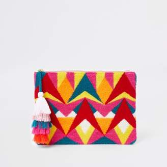 River Island Womens Pink multicolour geo tassel pouch clutch bag