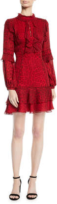 J. Mendel Long-Sleeve Ruffled Leopard-Print Silk Chiffon Cocktail Dress