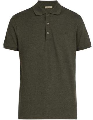 Bottega Veneta Logo Embroidered Cotton Polo Shirt - Mens - Green