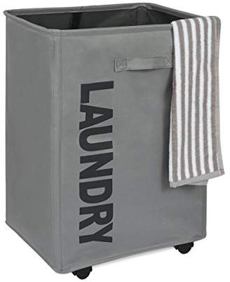 Laundry by Shelli Segal WOWLIVE Collapsible Rolling Laundry Basket Foldable Rectangular Tall Laundry Hamper Wheels Corner Standing Dirty Clothes Organizer Storage Bin (Gray)
