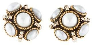 Oscar de la Renta Faux Pearl & Crystal Classic Button Stud Earrings
