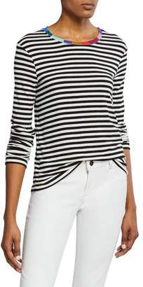 Splendid Striped Long-Sleeve Tee with Colorful Neckline