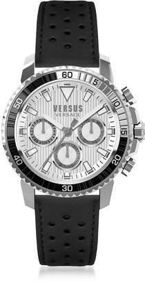 Versace Versus Aberdeen Silver Stainless Steel Men's Chronograph Watch w/Black Leather Strap