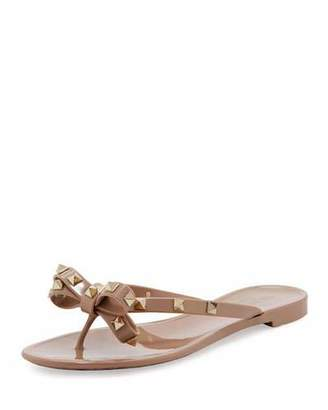 Valentino Rockstud PVC Thong Sandal, Metallic Brown $295 thestylecure.com