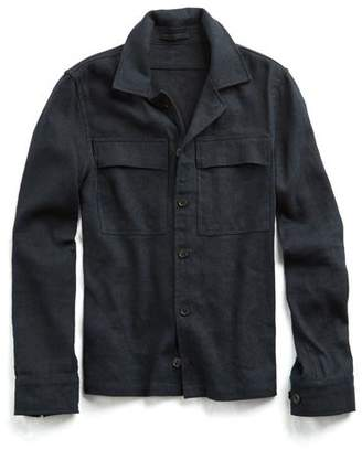 Todd Snyder Linen Cotton Herringbone Shirt Jacket in Navy