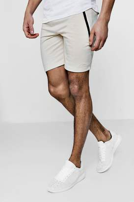 boohoo Skinny Fit Shorts With Contrast Sports Zip