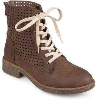 Co Brinley Womens Faux Leather Laser-cut Lace-up Boots