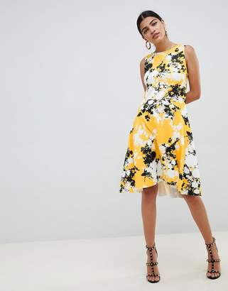 Asos DESIGN scuba shift dress with full hem in shadow floral