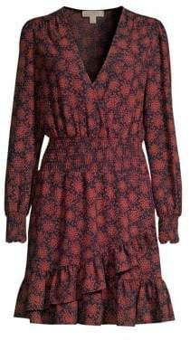 MICHAEL Michael Kors Women's V-Neck Printed Ruffle Dress - Terracotta - Size XS