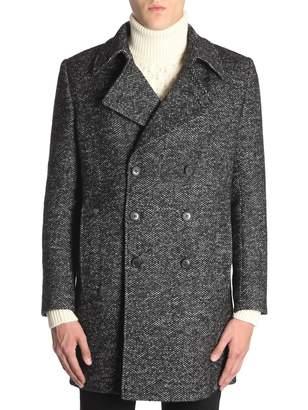 Saint Laurent Pea Coat In Chevron Wool