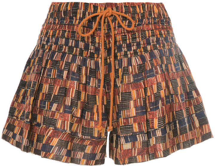 printed drawstring shorts