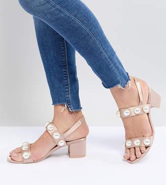 Monki Pearl Detail Block Heeled Sandal