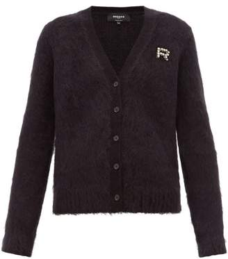 Rochas Crystal Logo Embellished Mohair Cardigan - Womens - Black