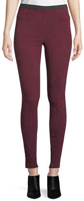 Neiman Marcus Leather Collection Suede Leggings w/ Mock Fly