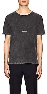 Saint Laurent Men's Logo Acid-Washed Cotton T-Shirt - Black