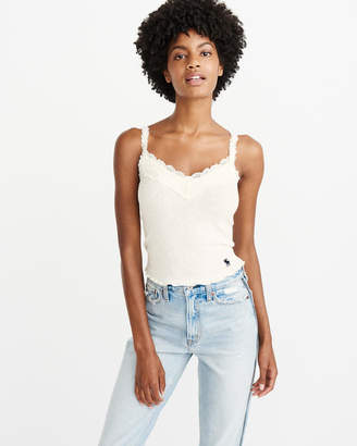 Abercrombie & Fitch Lace-Trim Ribbed Cami