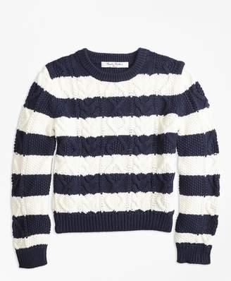 Brooks Brothers Girls Cotton Aran Stripe Sweater