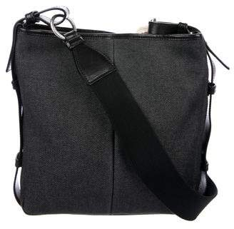 Saint Laurent Leather-Trimmed Denim Messenger Bag