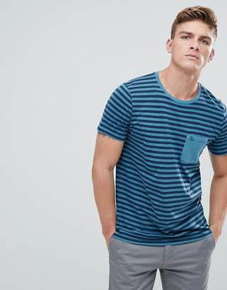 Abercrombie & Fitch Garment Dyed Stripe Pocket T-Shirt in Blue