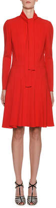 Giambattista Valli Tie-Neck Long-Sleeve Crepe Dress
