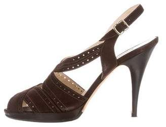 Oscar de la Renta Suede Peep-Toe Sandals