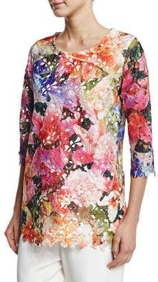 Caroline Rose 3/4-Sleeve Floral Lace Top