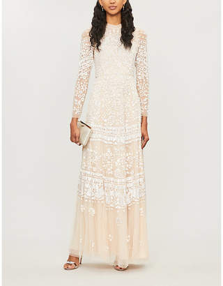 Selfridges Needle And Thread Aurora sequin-embroidered long-sleeved tulle maxi dress