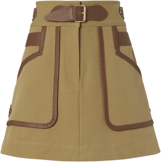 Derek Lam 10 Crosby Leather Trimmed Khaki Skirt $495 thestylecure.com