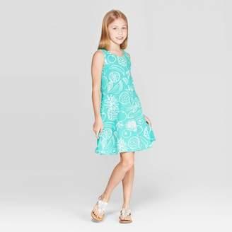 Cat & Jack Girls' Fruit Print Tank Knit Dress Green