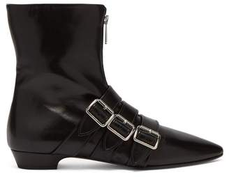 Miu Miu Buckled Leather Ankle Boots - Womens - Black