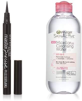 Maybelline Liquid Eyeliner and Garnier SkinActive Micellar Water Makeup Remover
