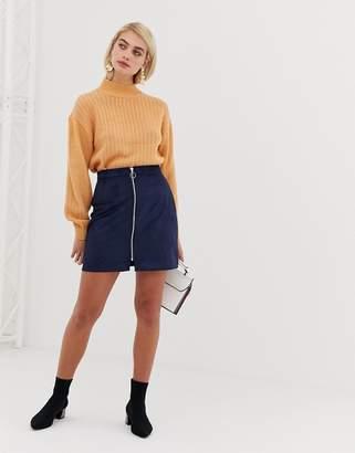 Vero Moda faux suede zip front mini skirt in navy