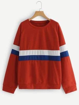 Shein Plus Color Block Raglan Sleeve Sweatshirt