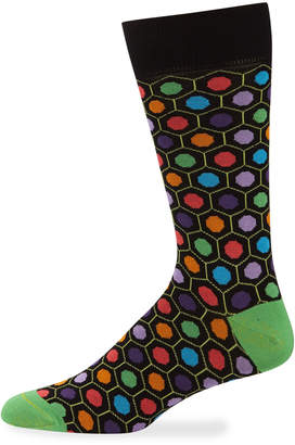 Jared Lang Men's Geometric-Print Cotton-Blend Socks