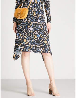 See by Chloe Floral-print draped crepe skirt