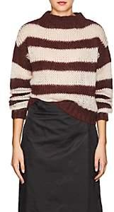Prada Women's Striped Mohair-Blend Crop Sweater