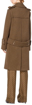 Michael Kors Guncheck Wool-Melton Officer's Coat