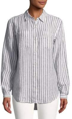 Lord & Taylor Plus Striped Linen Button-Down Shirt