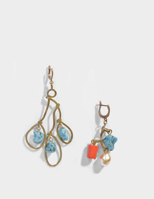 Marni Asymmetrical Earrings With Pendant Stone in Light Blue Resin