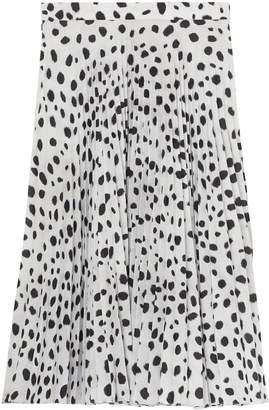 Burberry Dalmatian Print Crepe Pleated Skirt