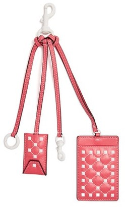 Valentino Free Rockstud Leather Cardholder Key Ring - Womens - Pink White