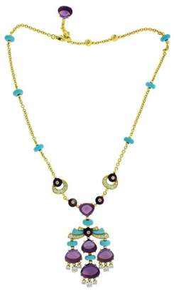 Bulgari Bvlgari 18k Yellow Gold Mediterranean Eden Diamond Amethyst & Turqoise Necklace
