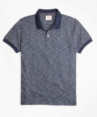Brooks Brothers Slub Cotton Feeder-Stripe Polo Shirt