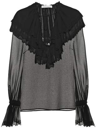 Philosophy di Lorenzo Serafini Embroidered chiffon blouse
