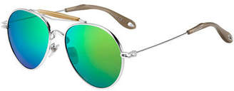 Givenchy Metal Mirrored Aviator Sunglasses