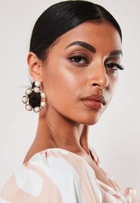 Missguided Cream Pearl Circle Earrings