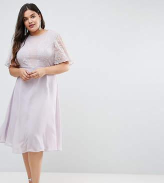 Asos DESIGN Curve Bridesmaid delicate lace applique midi dress
