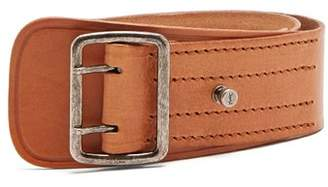 Saint Laurent Stitch Detail Leather Belt - Womens - Tan