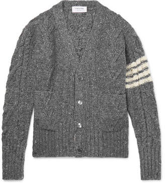 Thom Browne Grosgrain-trimmed Striped Cable-knit Wool And Mohair-blend Cardigan - Gray